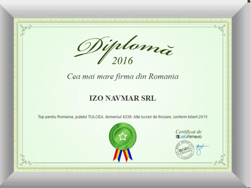 merite obţinute de SC IZO NAVMAR SRL partener al SC STEEL MARCONSTRUCT SRL